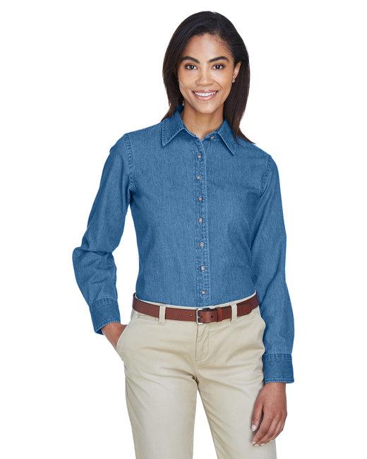 Harriton Ladies' 6.5 oz. Long-Sleeve Denim Shirt - Light Denim
