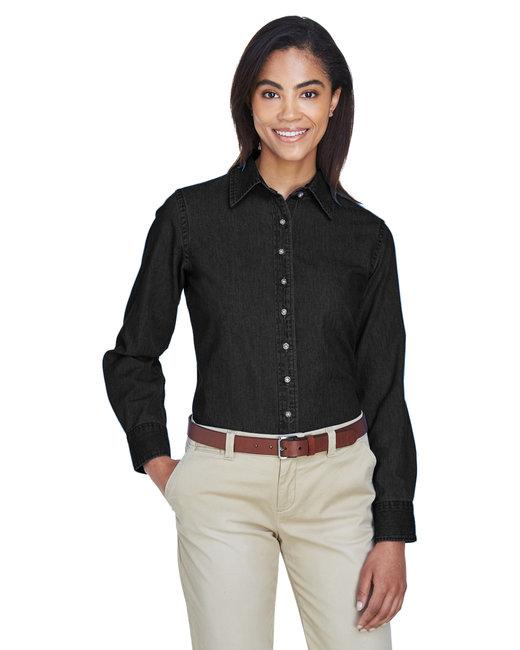 Harriton Ladies' 6.5 oz. Long-Sleeve Denim Shirt - Washed Black