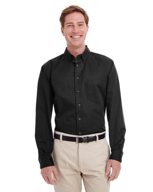 Harriton Men's Foundation 100% Cotton Long-Sleeve Twill Shirt withTeflon™ - Black