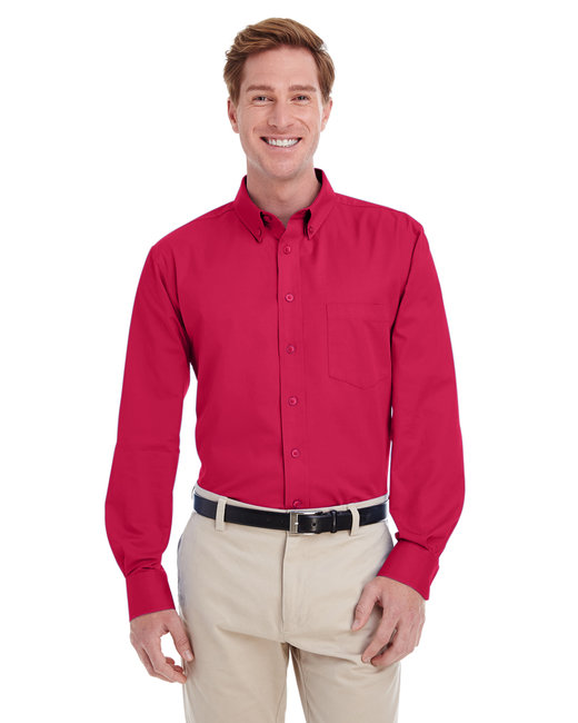 Harriton Men's Foundation 100% Cotton Long-Sleeve Twill Shirt withTeflon™ - Red