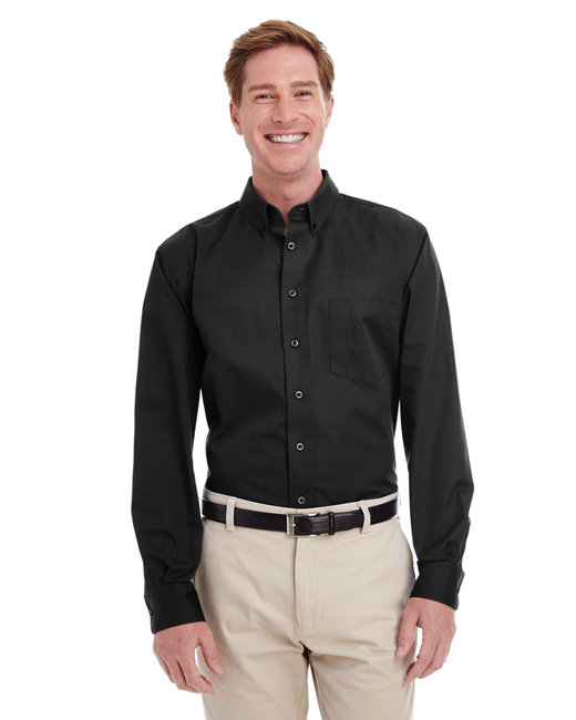 Harriton Men's  Tall Foundation 100% Cotton Long-Sleeve Twill Shirt with Teflon™ - Black