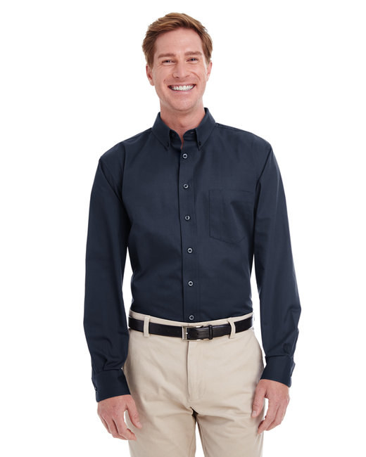 Harriton Men's  Tall Foundation 100% Cotton Long-Sleeve Twill Shirt with Teflon™ - Dark Navy