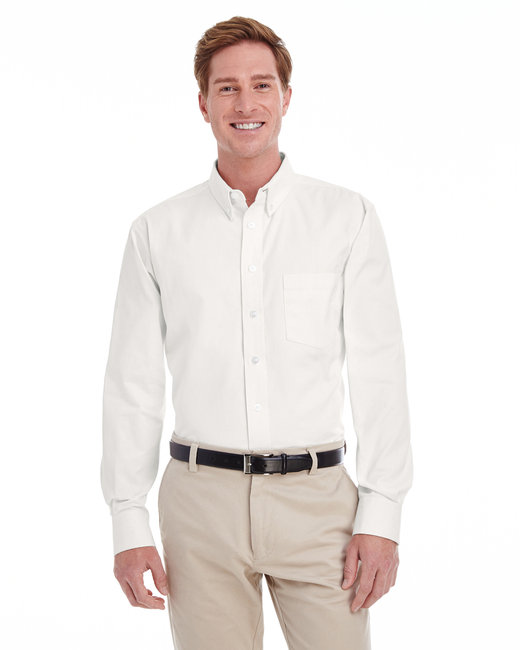 Harriton Men's  Tall Foundation 100% Cotton Long-Sleeve Twill Shirt with Teflon™ - White