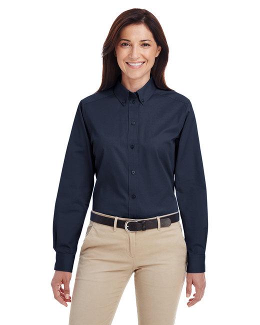Harriton Ladies' Foundation 100% Cotton Long-Sleeve Twill Shirt withTeflon™ - Dark Navy