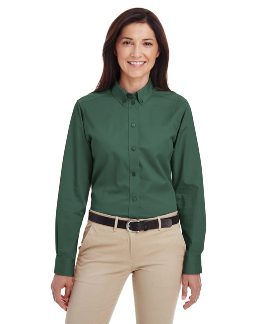 Harriton Ladies' Foundation 100% Cotton Long-Sleeve Twill Shirt withTeflon™ - Hunter