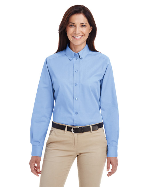 Harriton Ladies' Foundation 100% Cotton Long-Sleeve Twill Shirt with Teflon™ - Industry Blue