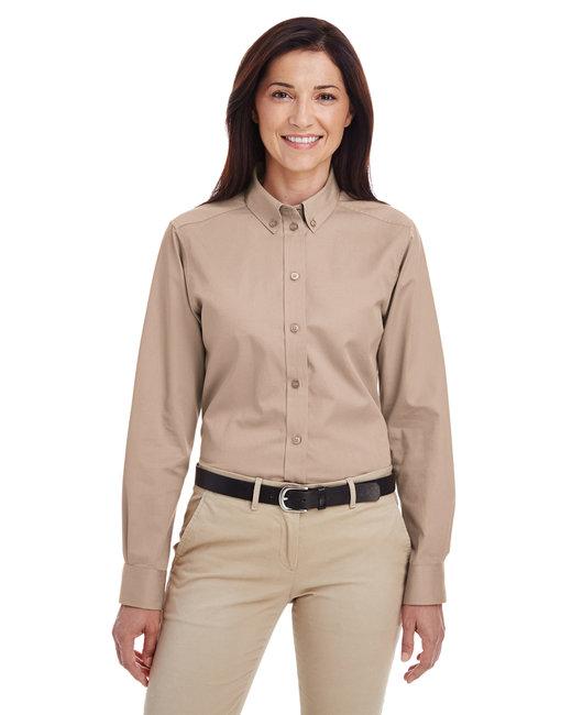 Harriton Ladies' Foundation 100% Cotton Long-Sleeve Twill Shirt withTeflon™ - Khaki