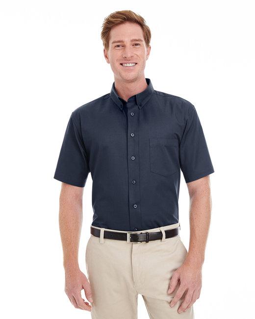 Harriton Men's Foundation 100% Cotton Short-Sleeve Twill Shirt with Teflon™ - Dark Navy