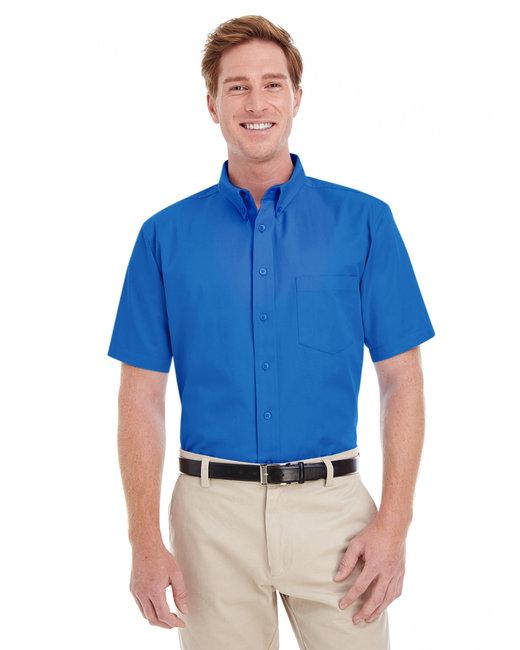 Harriton Men's Foundation 100% Cotton Short-Sleeve Twill Shirt with Teflon™ - French Blue