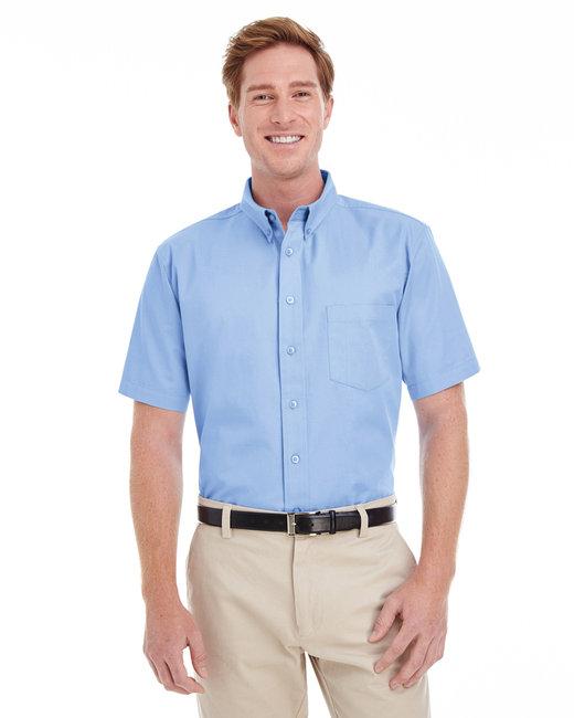 Harriton Men's Foundation 100% Cotton Short-Sleeve Twill Shirt with Teflon™ - Industry Blue