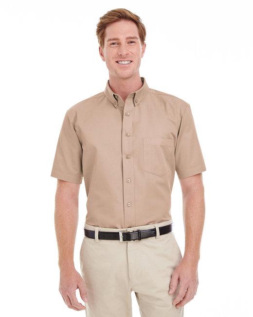 Harriton Men's Foundation 100% Cotton Short-Sleeve Twill Shirt with Teflon™ - Khaki