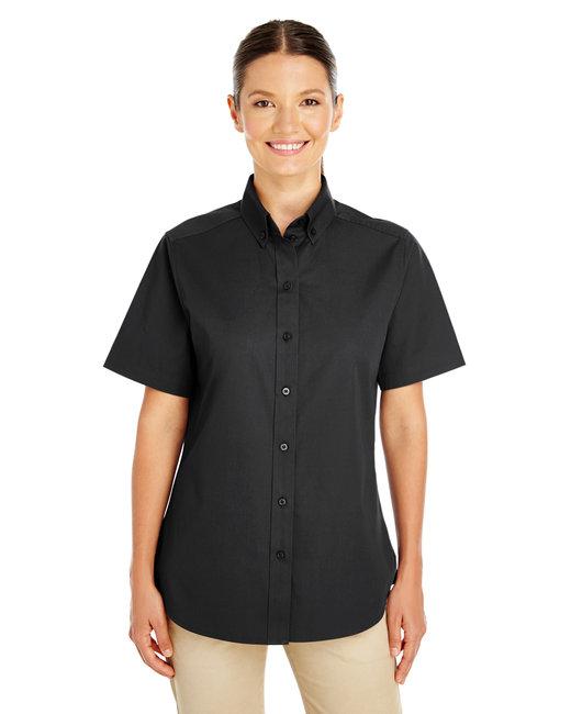Harriton Ladies' Foundation 100% Cotton Short-Sleeve Twill Shirt with Teflon™ - Black