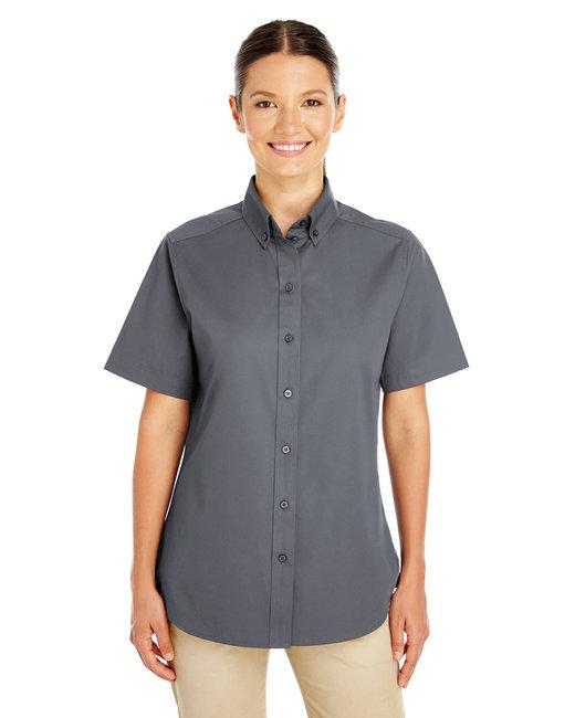 Harriton Ladies' Foundation 100% Cotton Short-Sleeve Twill Shirt with Teflon™ - Dark Charcoal