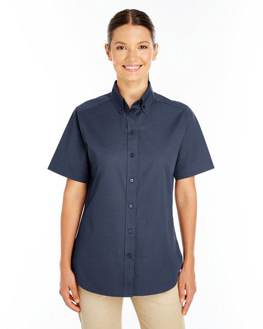 Harriton Ladies' Foundation 100% Cotton Short-Sleeve Twill Shirt with Teflon™ - Dark Navy