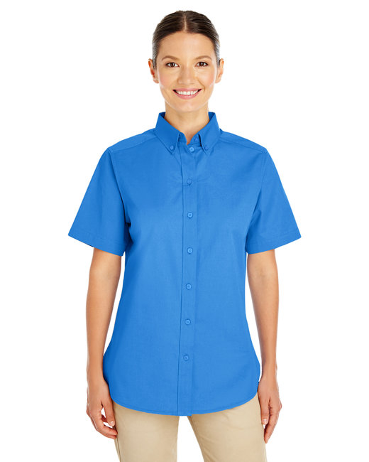 Harriton Ladies' Foundation 100% Cotton Short-Sleeve Twill Shirt with Teflon™ - French Blue