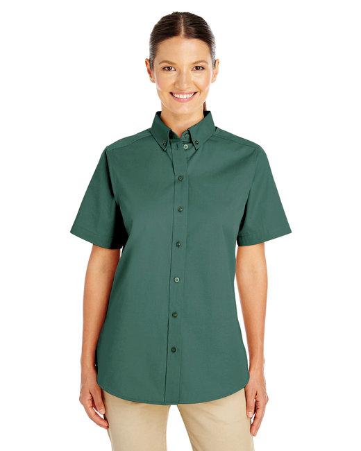 Harriton Ladies' Foundation 100% Cotton Short-Sleeve Twill Shirt with Teflon™ - Hunter