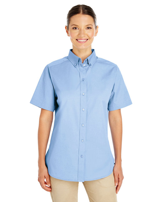 Harriton Ladies' Foundation 100% Cotton Short-Sleeve Twill Shirt with Teflon™ - Industry Blue