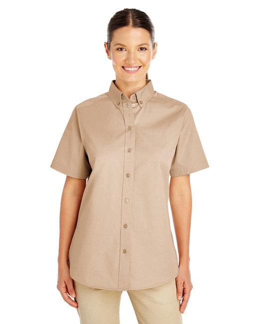 Harriton Ladies' Foundation 100% Cotton Short-Sleeve Twill Shirt with Teflon™ - Khaki