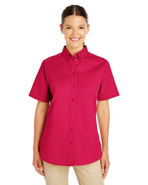 Harriton Ladies' Foundation 100% Cotton Short-Sleeve Twill Shirt with Teflon™ - Red