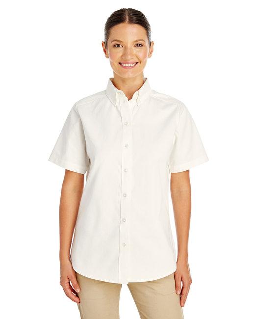 Harriton Ladies' Foundation 100% Cotton Short-Sleeve Twill Shirt with Teflon™ - White