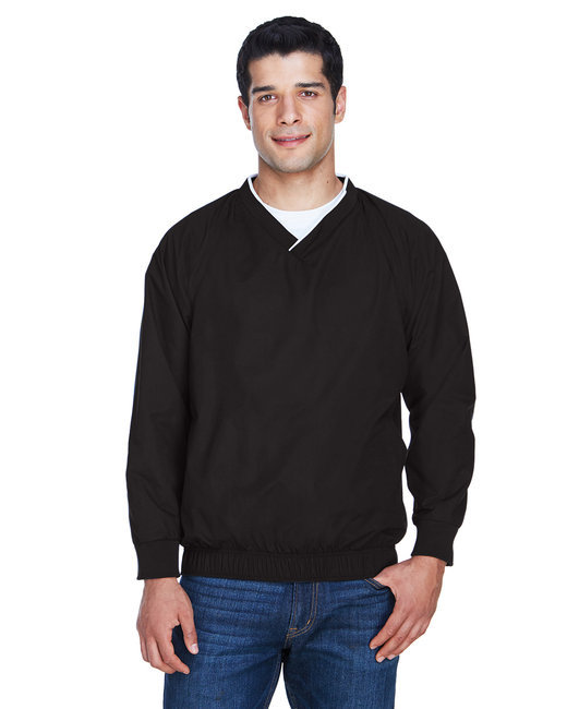 Harriton Adult Microfiber Wind Shirt - Black/ White
