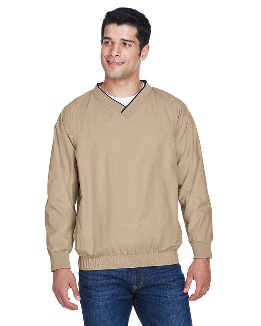 Harriton Adult Microfiber Wind Shirt - Stone/ Black