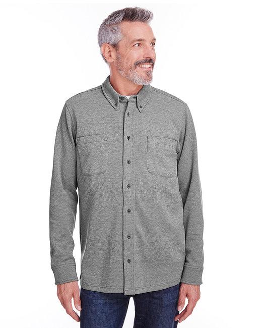Harriton Adult StainBloc™ Pique Fleece Shirt-Jacket - Drk Charcoal Hth