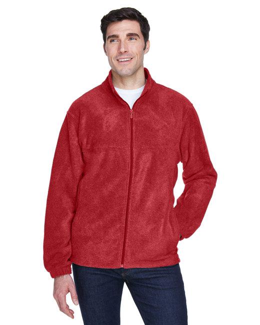Harriton Men's 8 oz. Full-Zip Fleece - Red