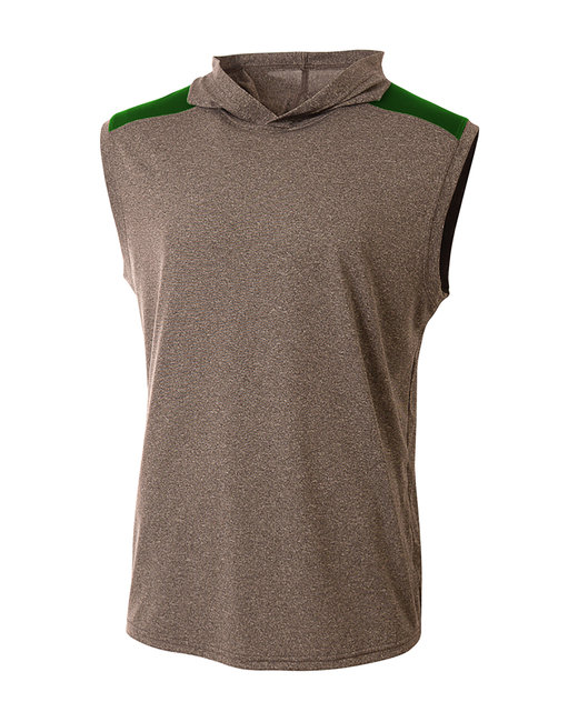 A4 Men's Tourney-Layering Sleeveless Hoodie - Heather/ Forest