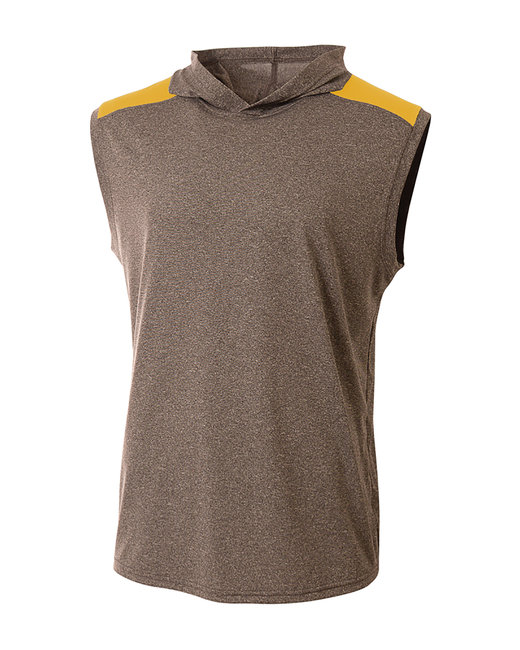A4 Men's Tourney-Layering Sleeveless Hoodie - Heather/ Gold