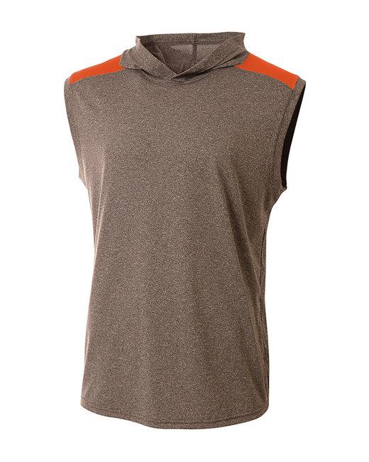 A4 Men's Tourney-Layering Sleeveless Hoodie - Heather/ Orange