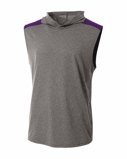 A4 Men's Tourney-Layering Sleeveless Hoodie - Heather/ Purple
