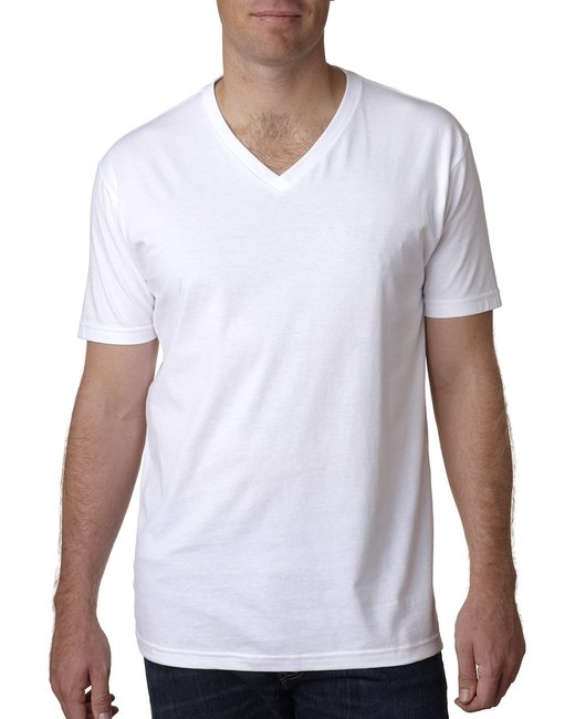 Next Level Men's Cotton V - White