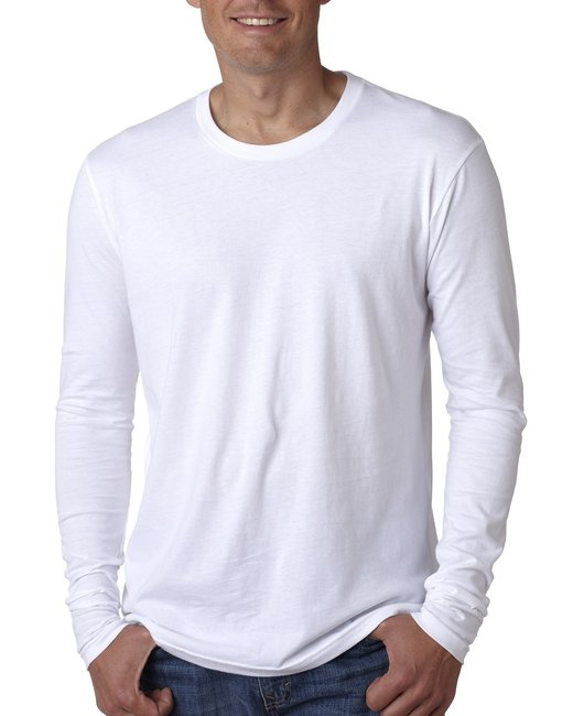 Next Level Men's Cotton Long-Sleeve Crew - White