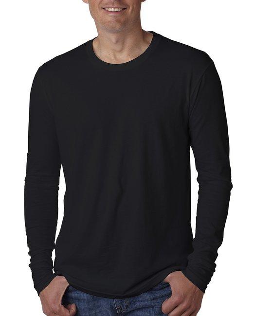 Next Level Men's Cotton Long-Sleeve Crew - Black