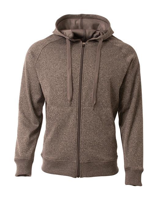 A4 Men's Agility Full-Zip Tech Fleece Hooded Sweatshirt - Charcoal Heather
