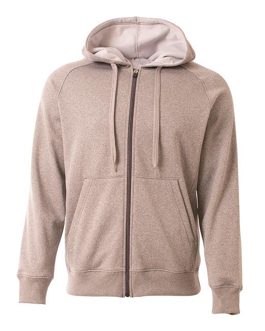 A4 Men's Agility Full-Zip Tech Fleece Hooded Sweatshirt - Heather