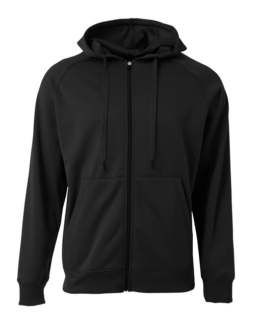 A4 Men's Agility Full-Zip Tech Fleece Hooded Sweatshirt - Black