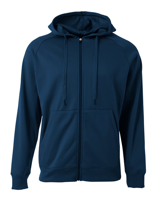 A4 Men's Agility Full-Zip Tech Fleece Hooded Sweatshirt - Navy