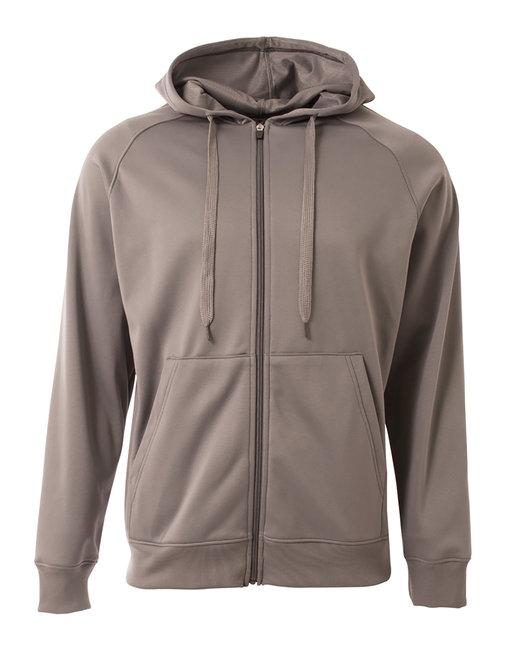 A4 Men's Agility Full-Zip Tech Fleece Hooded Sweatshirt - Graphite