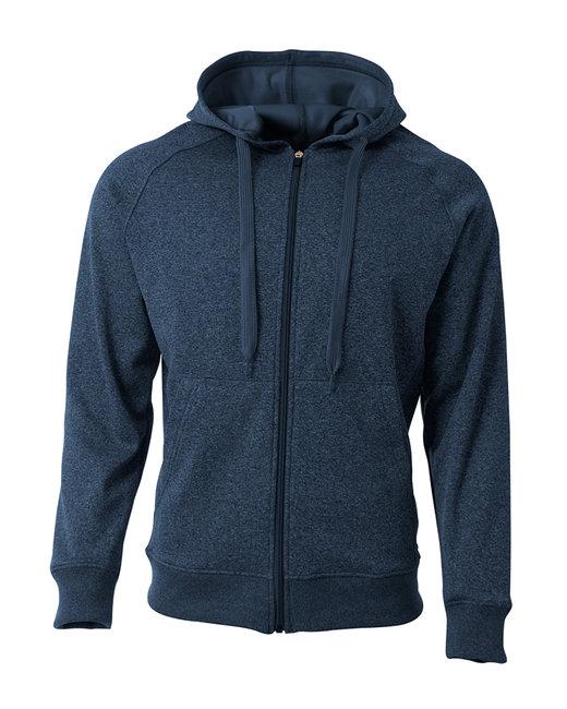 A4 Men's Agility Full-Zip Tech Fleece Hooded Sweatshirt - Navy Heather