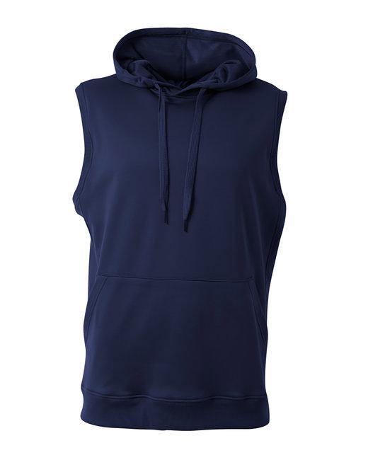 A4 Men's Agility Sleeveless Tech Fleece Pullover Hooded Sweatshirt - Navy