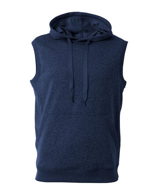 A4 Men's Agility Sleeveless Tech Fleece Pullover Hooded Sweatshirt - Navy Heather