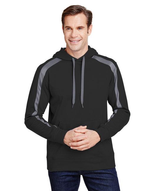 A4 Men's Spartan Tech-Fleece Color Block Hooded Sweatshirt - Black/ Graphite
