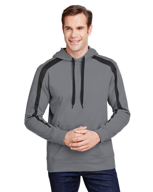 A4 Men's Spartan Tech-Fleece Color Block Hooded Sweatshirt - Graphite/ Black