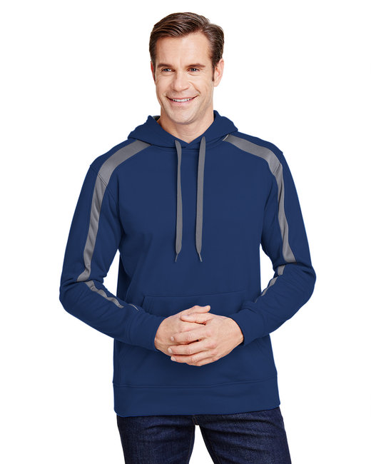 A4 Men's Spartan Tech-Fleece Color Block Hooded Sweatshirt - Navy/ Graphite