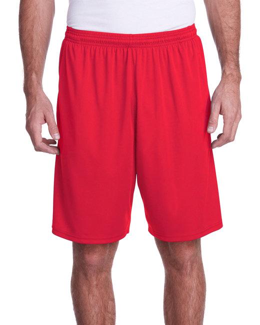 A4 Men's Color Block Pocketed Short - Scarlet/ Graphit