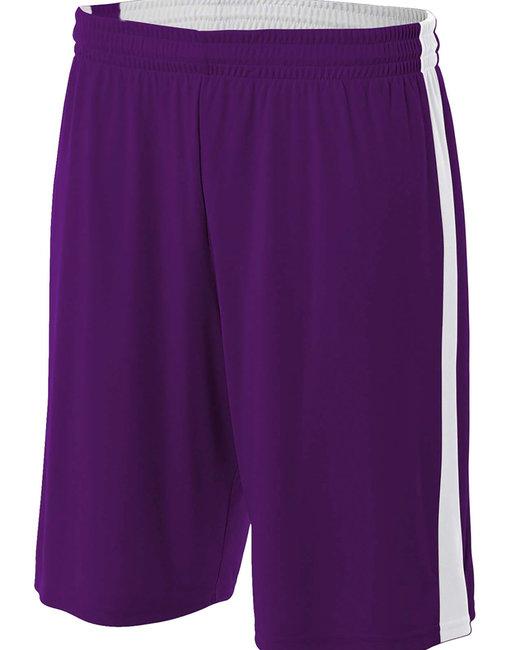 A4 Adult Reversible Moisture Management Shorts - Purple/ White