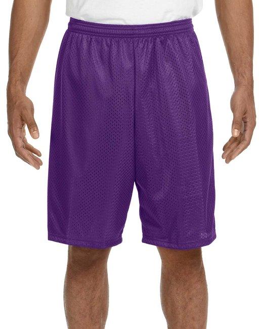 A4 Adult Nine Inch Inseam Mesh Short - Purple