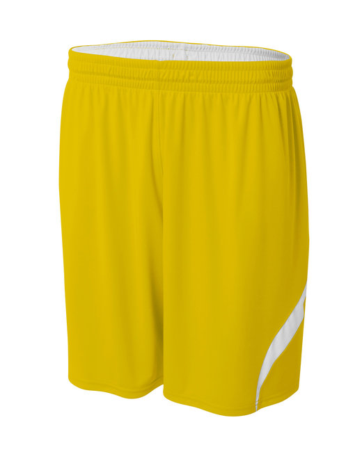 A4 Adult Performance Doubl/Double Reversible Basketball Short - Gold/ White